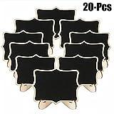 #4: Coxeer Mini Blackboard, 20Pcs Message Blackboard Creative Mini Wood Blackboard Sign with Stand Holder Multicolor