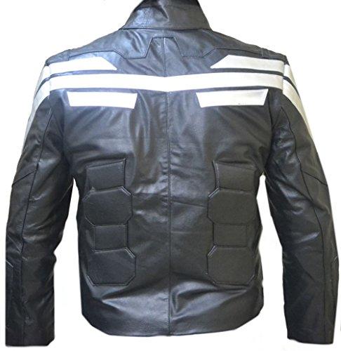 classyak Herren America Fashion Echt Leder Captain Fashion Jacke Faux Black