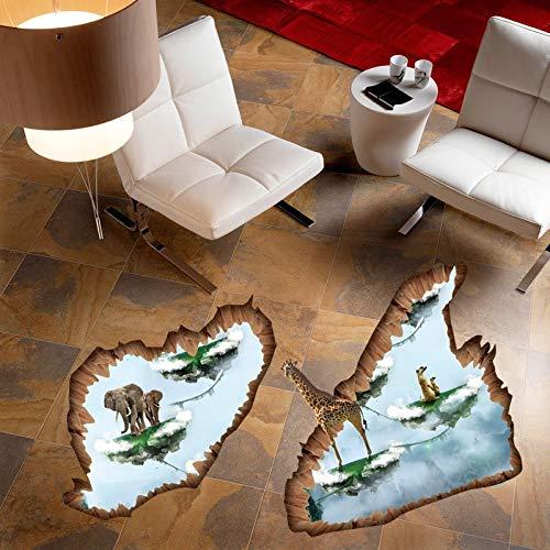 Schmelzen Punkt (Wandaufkleber 3D Schwimm Eisinseln Giraffe Elefanten Für Wohnkultur Boden Wandtattoos Rissige Wand Schmelzen Eiswand Applique)
