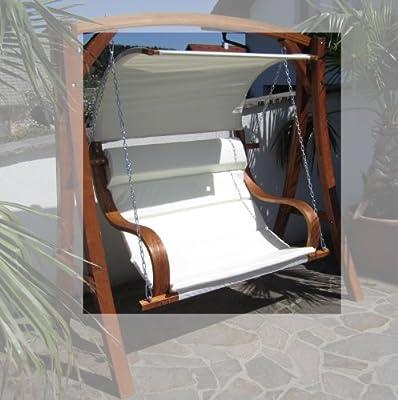 Design Sitzbank für Hollywoodschaukel aus Holz Lärche inkl. Dach Modell: 'SEAT-MERU' ohne Gestell von AS-S