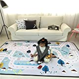 Lily&her friends - Kids Fun Play Mat Family Game Toy Mats For Children, Baby Soft Play Crawling Activity Safe Floor Pad Area Rug Cushion Blanket, Anti-slip, Durable and Washable, Both come with one plush dice and two toy trains