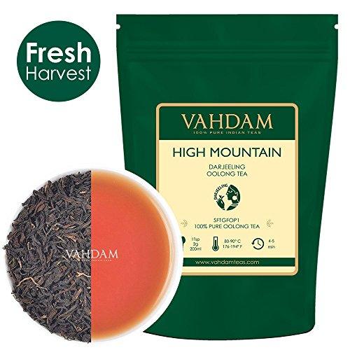 Image of High Mountain Oolong Teeblätter aus dem Himalaya (50 Tassen), 100% NATÜRLICH, Hand gepflückt auf den hochgelegenen Darjeeling Plantagen,Oolong-Tee zum Abnehmen,VAKUUMVERPACKT & Direkt aus Indien 100gm