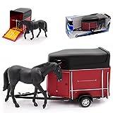 alles-meine.de GmbH Pferdeanhänger mit Pferd und öffnender Klappe 1/43 Cararama Modell Auto