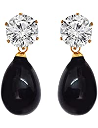 Elegant & Fashionable Black Colour Faux Pearl & White Stone Stud Earrings - 878.13