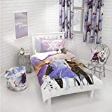 Frozen 2 Disney Single Polycotton Duvet Cover | Officially Licensed Reversible Two Sided Bedding Olaf, Anna, Elsa, Kristoff and Sven Design with Matching Pillowcase, Purple