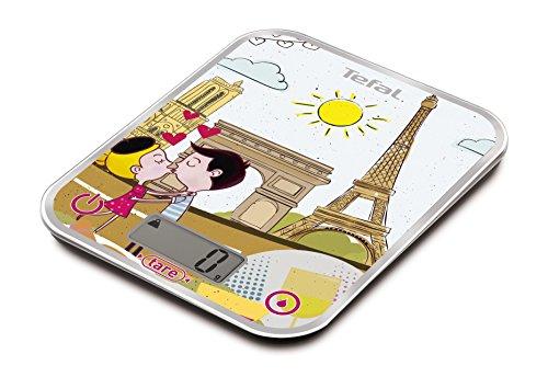 Tefal BC5125V0 BC Optiss - Bilancia Elettronica da Cucina, in Vetro, Multicolore, Città: Parigi, 18x 2,9x 23,2cm