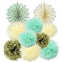 Papier Soie Pompom Menthe Creme Or Rosace Kit Decoration Mariage Bapteme Anniversaire