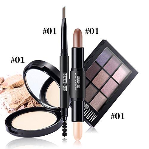 BrilliantDay 4PCS Cosmetic Kit Poudre pressée Crayon à sourcils Ombre à paupières Surligneur Shimmer Stick Makeup Set#1