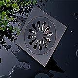 HomJo 10x10cm Art Schwarzes Bronze Messing Blume Geschnitzte Kunst Drain Badezimmer Dusche Abfall Drainer , 3