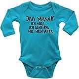 Mikalino Langarm Babybody Jaa Mann!! Ich weiss, ich sehe aus, wie mein Vater schwarz print, Grösse:68;Farbe:atoll
