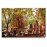 Premium Textil-Leinwand 120 x 80 cm Quer-Format Buddha Statue im Wat Mahathat | Wandbild, HD-Bild auf Keilrahmen, Fertigbild auf hochwertigem Vlies, Leinwanddruck von Ralf Wittstock
