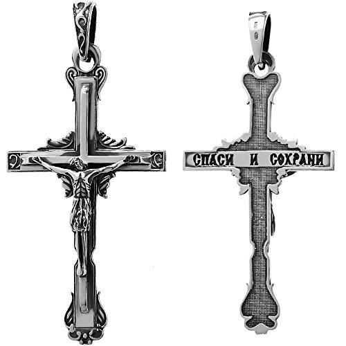 NKlaus 925er Sterlingsilber Kruzifix Kreuz Anhänger Orthodox russisch 6256 Taufe