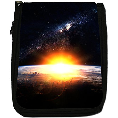 Esplorazione Spaziale Medium Nero Borsa In Tela, taglia M Glorious Sun Rise In Space