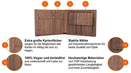 ACHERLA | Leichtes Bifold Herren Portemonnaie vegan aus Kork (dunkel) mit Geschenkbox wasserabweisendes, robustes, handmade Portemonee (dunkel) - 6