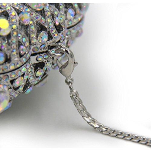 Sacchetto Di Mano Del Pavone Del Sacchetto Di Sera Di Diamante Di Lusso Delle Signore Silver