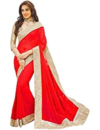 Shree Women's Georgette Fabric Saree With Blouse Piece.(306_Free Size) (RED)