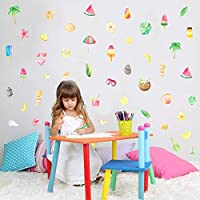 TOARTi Watercolor Summer Holiday Wall Decals (46 Decals) Fresh Leaf& Flower Fruits Wall Stickers Peel& Stick Ice Cream Wall Art for Baby Kids Nursery Bedroom