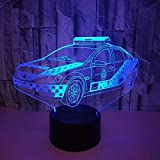 Ilusión óptica 3D Coche de Policía Luz de Noche 7 Colores que Cambian USB Poder Touch Switch Decor Lámpara LED Mesa Lámpara Niños Juguetes Cumpleaños Navidad Regalo