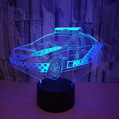 Ilusión óptica 3D Coche Policía Luz Noche 7 Colores