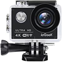 ieGeek Action Camera 4K 16MP Motor Bicycle Camera Underwater Waterproof Camera Wi-Fi Sport Helmet Cameras Ultra HD Camcorder with 2'' LCD Screen, 1050mAh Battery and Accessories Kits