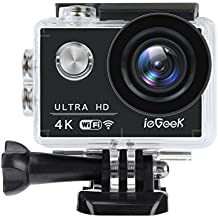 4K 16MP Action Camera, ieGeek Waterproof Wi-Fi Sport Helmet Cameras Ultra HD Camcorder with 170 Degree Angle, 2'' LCD Screen, Rechargeable Battery, 19 Accessories for Diving/Bicycle/Climbing/Swimming