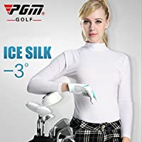 PGM mujeres de manga larga para Polo para mujer (ajustado ---- Meryl, Gran elasticidad, protección UV, color blanco, tamaño large