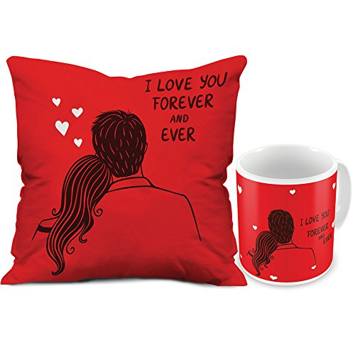 Valentine Gifts for Boyfriend Girlfriend Red I Love You Forever Couple 12X12 Printed Filled Cushion & Best Quality Ceramic Mug Gift for Him Her Wife Husband Fiance Spouse Birthday Anniversary Everyday Gifting