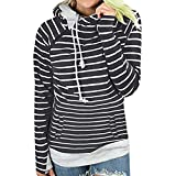Xmiral Damen Hoodies Herbst und Winter Striped Panel Hoodie Pullover Tasche Bluse (M,Grau)