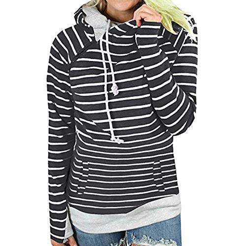 Beikoard Damen Herbst und Winter Saison Gestreifter Hoodie Damen Lässiger Sport Sweatshirt