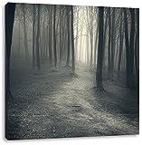 Düstere Landschaft schwarz weiß, Format: 60x60 auf Leinwand, XXL riesige Bilder fertig gerahmt mit Keilrahmen, Kunstdruck auf Wandbild mit Rahmen, günstiger als Gemälde oder Ölbild, kein Poster oder Plakat