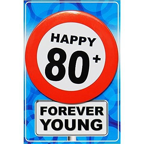 Tarjeta de regalo con chapa Happy 80+
