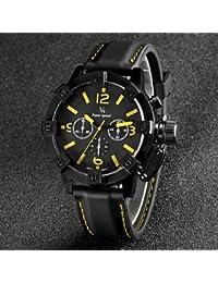 Relojes Hermosos, V6 moda estuche negro de silicona de línea carreras de correa de cuarzo reloj ocasional de los hombres ( Color : Azul )