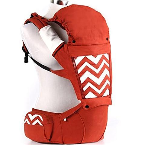 ANHPI Ergonomischer Babytrage Kopfstütze Comfort Rucksackpackung Abnehmbarer Hüftsitz Atmungsaktiver Mesh-Träger Safe ,Orange
