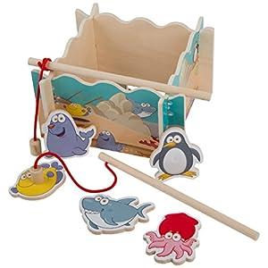 Ultrakidz Johntoy Juego de Pesca de Madera, Juego magnético con Estanque, Juguete con 2 cañas de Pescar y 10 Figuras de Madera