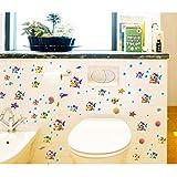 Cartoon Blase Fisch Wandaufkleber Badezimmer Glastür Waschbecken Wasserdichte Dekorative Aufkleber Tür Und Wanddekoration