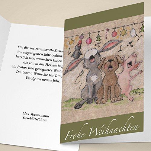 4er Weihnachtskarten Set Fröhliche Unternehmen Weihnachtskarten mit Tier Weihnachts Chor, mit ihrem Innentext (Var8) drucken lassen, als geschäftliche Weihnachtsgrüße / Glückwunsch zu Neujahr / Weihnachtskarte an Firmenkunden, Geschäftspartner, Mitarbeiter: Frohe Weihnachten (0-chor)