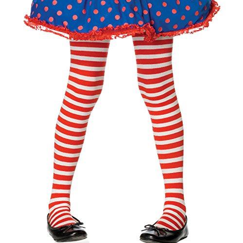 Leg Avenue 4710  - Gestreifte Strumpfhose, Größe: XL, rot/weiß (Rot Und Weiß Gestreifte Strumpfhose Kostüm)