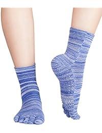 Knitido Wellness Massage - Calcetines de tobillo alto con dedos, Bienestar y Masaje, Talla:39-42, Colores moteados:azul moteado