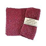 Gestrickte Spültücher, hergestellt aus 100% Baumwolle. Handgemacht, waschbar & wiederverwendbar! Zero Waste Verpackung ♻️ (Rot)