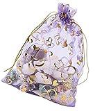 Favson 100 Bolsas de Organza con cordón para Guardar Joyas y Caramelos. Bolsas de Organza con diseño de Concha de mar de Chocolate. Bolsas de Regalo de Pascua para Mujeres (Amor de la Lavanda)