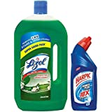Lizol Dinsinfectant Floor Cleaner Jasmine - 975 ml with Free Harpic Power Plus Toilet Cleaner- 200 ml (Any Variant)