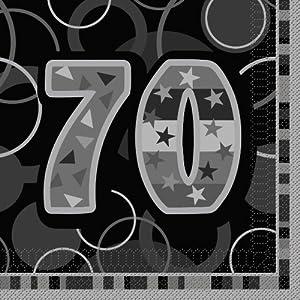Unique Party Paquete de 16 servilletas de papel de 70 cumpleaños Color negro Edad (28485