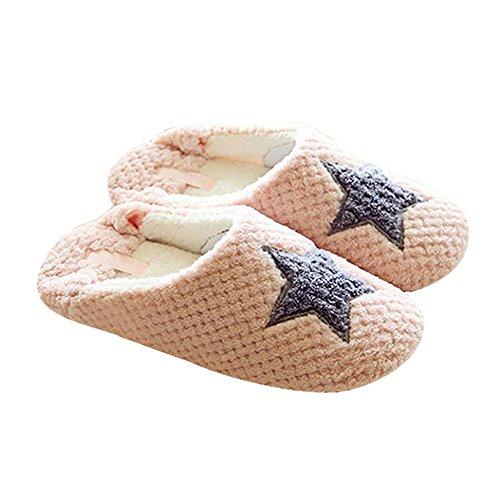 Eastlion Star Herz Ananas Muster warme Hausschuhe Indoor Startseite Slipper Rosa Größe 38-39