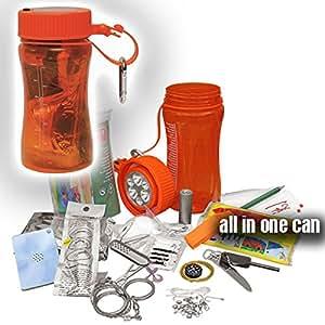 Copytech #15785 Outdoor Survival Set Bear Kit de survie dans 1boîte étanche comprenant lampe LED solaire, outil multifonctions, allume-feu Pour armée, aventure, randonnée, camping, pêche