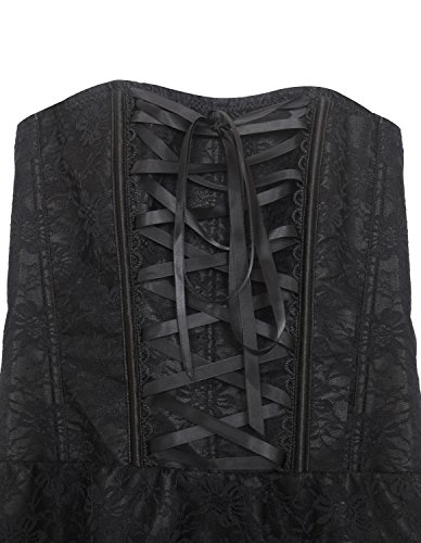 Burvogue Damen Gothic Spitzen Steampunk Korsett Kleid Kostüm Schwarz