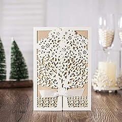 Idea Regalo - VStoy Recenti nozze d'oro Kit Inviti Cards con bowknot del nastro Cartoncino per Wedding Marriage festa di compleanno di laurea (20pcs)
