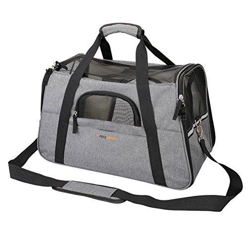 Petshoney Transporttasche & Hundebox für den Transport von Hund & Katze im Flugzeug, Auto oder in der Bahn mit weicher Polstereinlage für eine entspanntere Reise mit Kleintieren 45x25x28cm