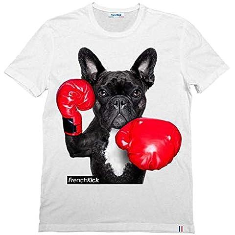 T-shirt blanc French kick Homme imprimé Dog's boxing - taille S M L XL (L)