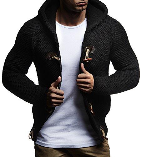 LEIF NELSON Herren Strickjacke Pullover Hoodie Jacke Sweatjacke Winterjacke Pulli Zipper LN20715 Schwarz 5380