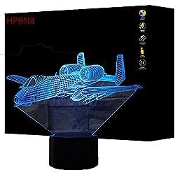 Illusion 3D Avion LED Lampe Art Déco Lampe Lumières LED Décoration Maison Enfants Meilleur Cadeau Lumière Touch Control 7 Couleurs Change USB Lampes Bureau Powered